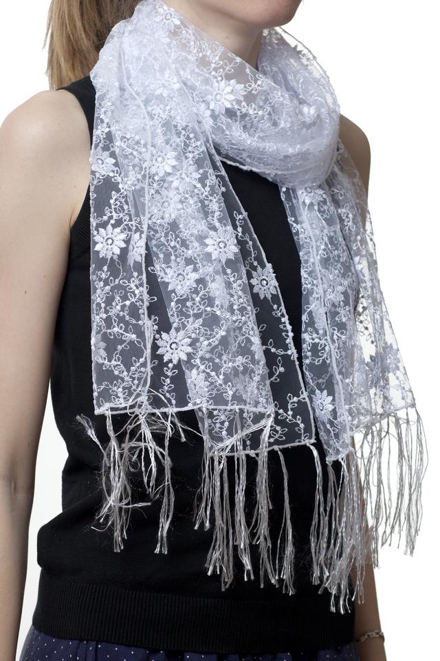 Свадебный шарф белый ромашка 1