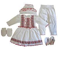 Комплект крестильный для девочки с платьем, 5 предметов, интерлок. Рост 58 см
