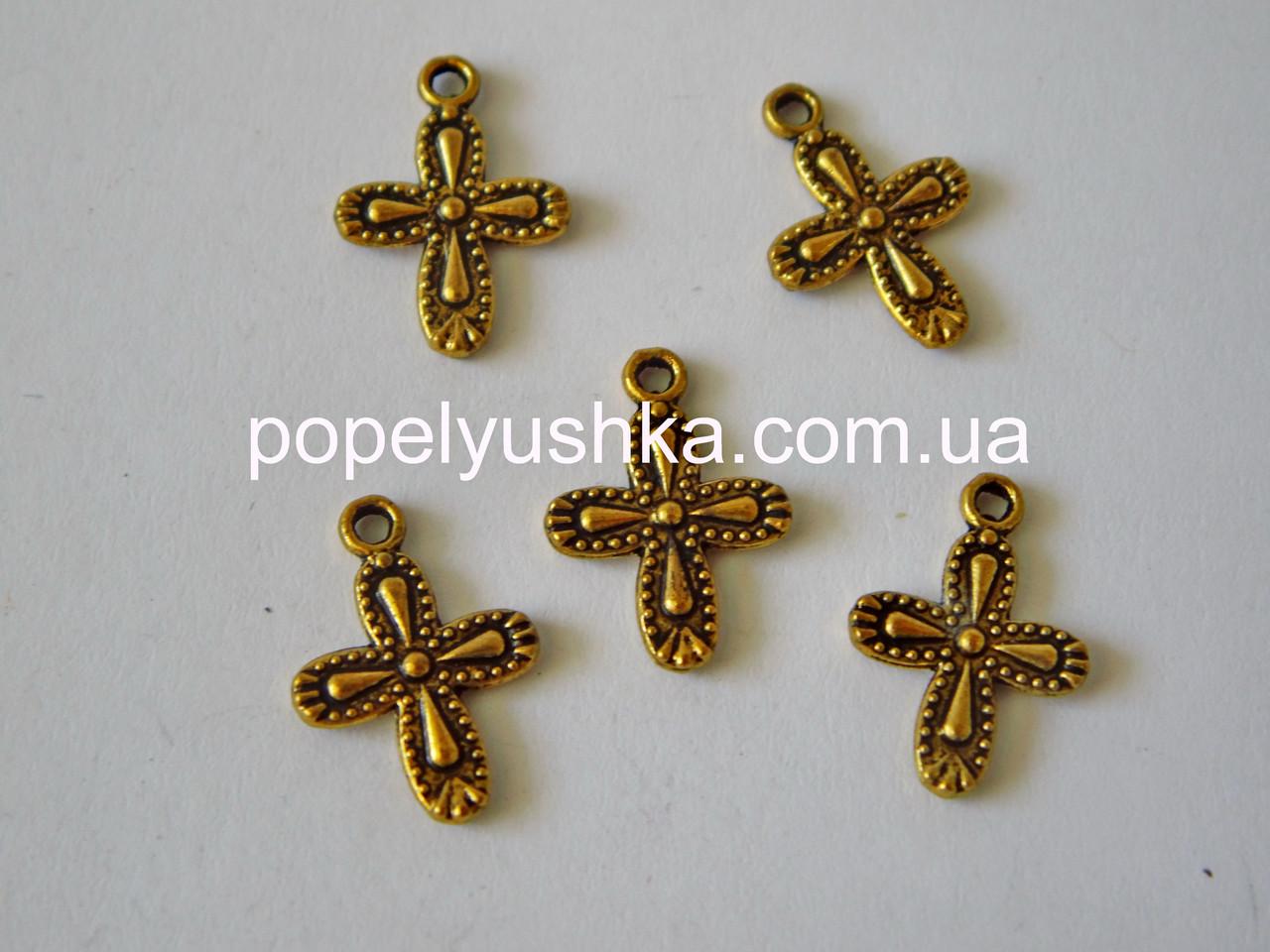 Міні декор Кулон-Хрест 18*13 мм Античне Золото