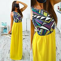 Платье в пол шифон + дайвинг 4 цвета