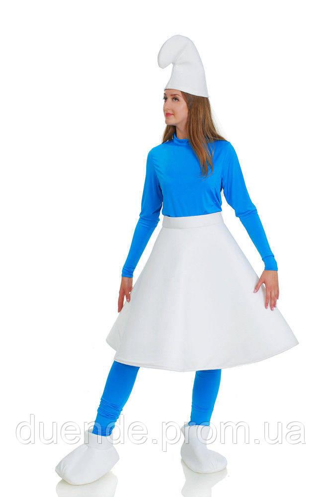 Смурфетта в юбке карнавальный женский  костюм