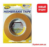 Двухсторонняя клейкая лента HPX MEMBRANA TAPE для мембран, 15 мм x 25 м, 100 микрон, прозрачный