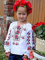 """Українська сорочка вишиванка для дівчинки """"Колоритні Маки"""" з довгим рукавом Поплін, фото 1"""
