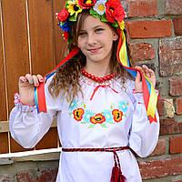 """Яркая украинская вышиванка """"Полевые цветы"""" для девочек на рост 86-152 см"""