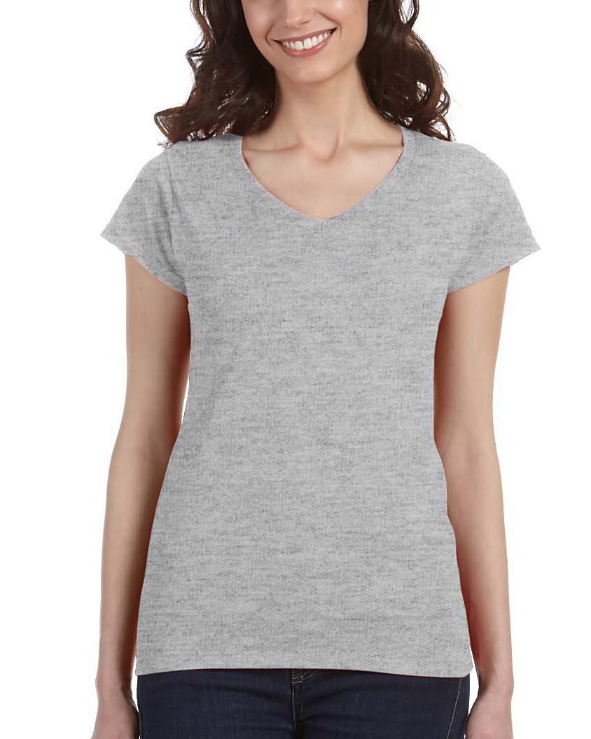 eb7f5ceb77e22 Футболка Gildan® SoftStyle® Ladies V-Neck Tee Sport Grey — в Категории