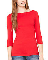 Лонгслив Bella + Canvas Women's Jersey Half Sleeve Boatneck Tee Red