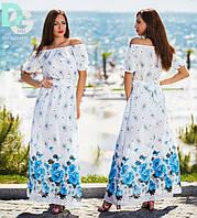 Платье Белое в пол Цветы Открытые плечи Длинное Платье Натуральная Ткань