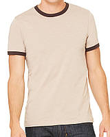 Футболка Bella + Canvas Men's Jersey Short Sleeve Ringer Tee Heather Tan Brown