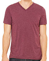 Футболка Bella + Canvas Unisex Triblend Short Sleeve V-Neck Tee Maroon Triblend