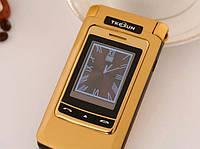 Мобильный расладной телефон F666 на 2 Сим-карты в металле с внешним дисплеем под самсунг