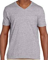Футболка Gildan Softstyle® V-Neck Tee Sport Grey