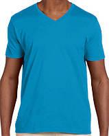 Футболка Gildan Softstyle® V-Neck Tee Sapphire