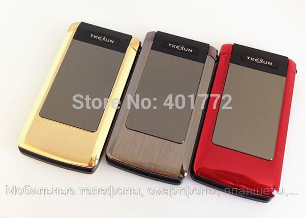 Телефон-раскладушка с внешним экраном Tkexun T10 на 2 Sim металлический корпус