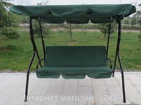 Садовая качеля Majka, зеленая, с козырьком, фото 3