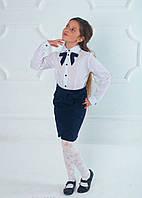 Блуза школьная белая с бантом