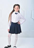 Блуза школьная белая со стойкой с бантом-брошью