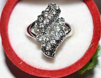Кольцо на руку, белый металл, белые стразы 23_5_4a2