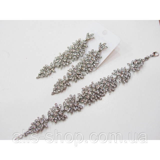 Шикарный набор длинные серьги + браслет в золоте с прозрачными кристаллами