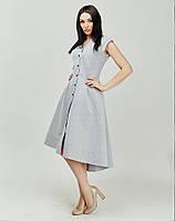 Светло-серое платье с удлененной спинкой