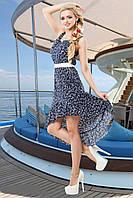Молодежное яркое летнее свободное платье с хвостом, р-ры 42, 44, 46, 48