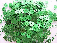 Упаковка пайеток. Круглые, зеленые, 4 мм