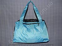 Cумка 114102 голубая с черным женская спортивная из полиэстера размер 40 см х 26 см х 17 см