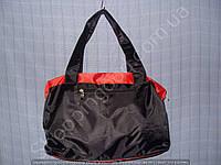 Cумка 114103 черная с красным женская спортивная из полиэстера размер 40 см х 26 см х 17 см