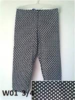 Леггинсы W01 летние для девочки вискоза Wiktoria 01 длина 3/4 черные