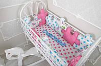 Комплект бортиков на всю кроватку + простынь «Пазлы» Совушки