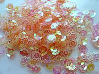Упаковка пайеток. Круглые, полупрозрачные, тисненные, нежно-абрикосовые, 6 мм