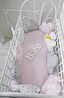 Комплект бортиков «Облачка» на всю кроватку и простынь