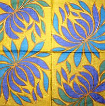 Декупажная салфетка Цветок на золотистом фоне 1825