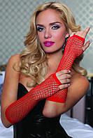 Длинные перчатки в сетку красные