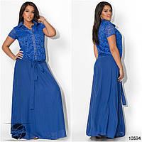Элегантное платье прямого силуэта из комбинированных материалов: верх гипюр