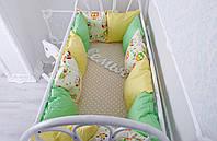 Комплект бортиков на всю кроватку и простынь «Классик» Весенние совушки