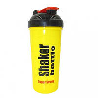 Шейкер с сеточкой для спортивного питания  (пластик, 700мл, желтый-черный)