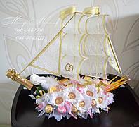 """Свадебный корабль из конфет """"Сладкое путешествие"""""""