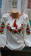 Красива жіноча вишиванка маки і волошки, фото 1