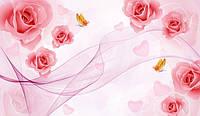 """3D фотообои """"Чудесные розы с бабочками"""""""