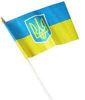 Украинский флажек настольный с гербом без присоски 13,5х21см