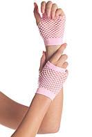 Перчатки в сетку с открытыми пальцами розовые