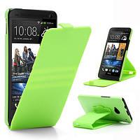 Чехол пластиковый на HTC One M7 801e вращающийся, салатовый