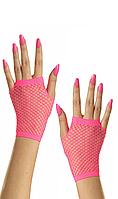 Перчатки в сетку с открытыми пальцами Hot Pink