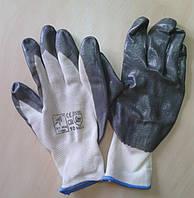 Перчатки нейлоновые  (гладкий серый нитрил)