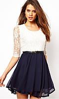 Стильное бело-синее платье  Д634