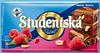 Шоколад Studentska pecet с малиной, арахисом и кусочками мармелада Чехия 180г