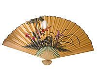 Веер настенный Сакура с бамбуком на желтом фоне (90 см)