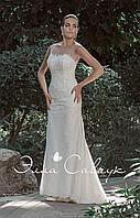 Свадебное атласное платье кружевной спиной