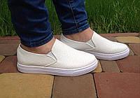 Мокасины женские летние кожаные белые на платформе (модные, женская обувь весна-лето)