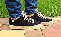 Мокасины женские летние эспадрильи черные на платформе (модные, женская обувь весна-лето)
